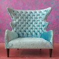 Luxury vintage arms chair light blue Stock Image