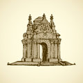 Luxury vintage gazebo. Vector drawing Royalty Free Stock Photo