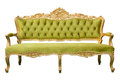 Luxury vintage green couch isolated Royalty Free Stock Photo