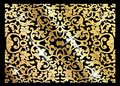 A luxury vintage vector card. Black background with beautiful ornaments and gold frame. Golden ornate decorative. Line art, lace