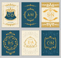 Luxury vintage wedding invitation vector cards with logo monograms and ornate frame