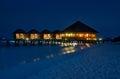 Luxury water villas at meerufenfushi island maldives night view meeru Royalty Free Stock Images
