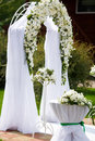 Luxury wedding altar decorated with white roses Royalty Free Stock Photo