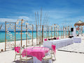 Luxury wedding on a beach setup perfect Stock Images