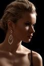 Luxury woman model, fashion chic jewelry, neckline Royalty Free Stock Photo