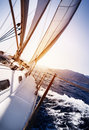 Luxury yacht in action the sea on sunset background sailing sport water transport summer cruise traveling and tourism concept Royalty Free Stock Photos