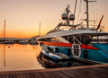 Luxury yacht aurelia at sunset