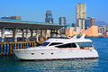 Luxury yacht a docked at the central ferry pier in hong kong Royalty Free Stock Photo