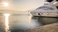 Luxury Yacht at Harbor Before Sunset Royalty Free Stock Photo