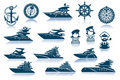 Luxury Yacht Icon Set Royalty Free Stock Images
