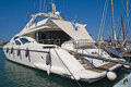 Luxury yacht in mandraki harbour Stock Photos