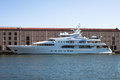 Luxury yacht samar in the port of genoa italy august busiest and one most important mediterranean area Stock Photography