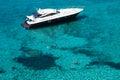Luxury yacht in turquoise Illetes Formentera mediterranean sea B Royalty Free Stock Photo