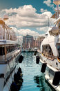Luxury yacht yachts in port le vieux cannes france Stock Images