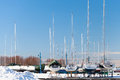 Luxury yachts on the coast in winter season tallinn estonia Stock Images