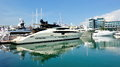 Luxury yachts on display at Singapore Yacht Show Stock Photos
