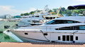 Luxury yachts on display at Singapore Yacht Show Stock Images