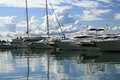 Luxury yachts moored on pier Royalty Free Stock Photo