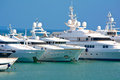 Luxury yachts view of a bows at a marina Stock Photo