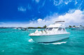 Luxury yatch in beautiful ocean sunny day Royalty Free Stock Photo