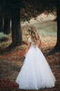 Luxuty portrait of blonde bride with bridal bouquet in autumn Stock Photos