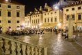 Luza square at night. Dubrovnik. Croatia Royalty Free Stock Photo