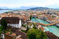 Luzern city view city walls river reuss switzerland Royalty Free Stock Images