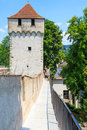Luzern city wall with medieval tower switzerland Stock Photos