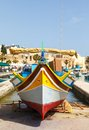 Luzzu traditional eyed fishing boats marsaxlokk malta Royalty Free Stock Photo