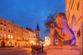 Lviv city night landscape ukraine Royalty Free Stock Photo