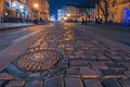 Lviv city night landscape ukraine Royalty Free Stock Photos