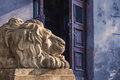 Lviv lion sculpture on city ukraine Stock Photos