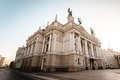 Lviv opera theatre side view of in ukraine Royalty Free Stock Photo