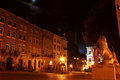 Lviv street at night Royalty Free Stock Photo