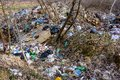 stock image of  LVIV, UKRAINE - April 30, 2019: Illegal garbage in spring forest, ecological catastrophe on a large scale in