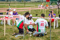 Lviv ukraine august fai european championships for space models bulgarian team members preparing to launch a model rocket Stock Photo