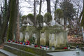 LVIV, UKRAINE - JANUARY 6, 2014: An alley at Lychakiv cemetery Lviv, Ukraine and old tombstones covered with moss