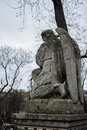 LVIV, UKRAINE - JANUARY 6, 2014: An old monument of angel at Lychakiv cemetery