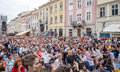 Lviv Ukraine June 2015: Alfa Jazz Fest 2015. Spectators sit in front of the stage jazz festival on the Market Square in Lviv, near Royalty Free Stock Photo