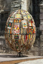 LVIV, UKRAINE - MAY 6 2014: Decorative Easter egg made of weaven Royalty Free Stock Photo