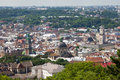 Lvov city from height top view of the Royalty Free Stock Photo