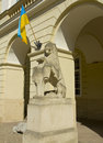 Lvov lion in town hall ukraine sculpture of near entrance of council historical centre of is unesco world heritage site Stock Images