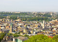 Lvov lviv ukraine panoramic sight of town in with dominican and assumption cathedrals and town hall Stock Photo