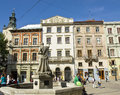 Lvov market square ukraine may with fountain neptune on may in ukraine fountaine neptune erected in historical centre of Royalty Free Stock Photography