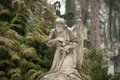 Lychakiv cemetery weeping angel tombstone in famous lviv Stock Photography