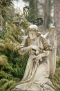Lychakiv cemetery weeping angel tombstone in famous lviv Stock Images