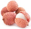 Lychee fruits on a white background Royalty Free Stock Image