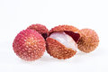 Lychee on white background Stock Photo