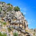 Lycian rock-cut tombs in Myra, Turkey Royalty Free Stock Photo