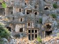 Lycian rock graves in the ancient city of the mira Royalty Free Stock Photos